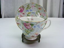 Vintage Cup & Saucer Crown Trint China Limited Made in England Blue w/ Flowers