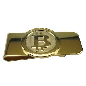 Geldklammer BTC coin Geldclip Geldscheinklammer Geldspange BTC echt vergoldet