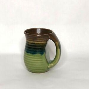 Handmade Pottery Coffee Mug Drip Glaze Green Blue Brown Ergonomic Handle 16 oz