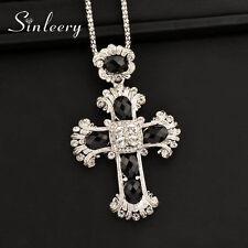 Big Black Cross Pendant Long Necklace For Women Men Antique Silver Chain MY312