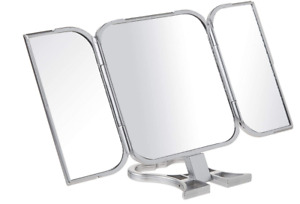 Tri-Fold Mirror Hand Held 3 Way Makeup Haircut Shave Mirror Never a Spot Miss