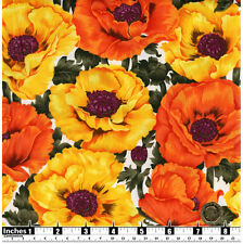 Quilting Fabric Large Yellow & Orange Poppies White BG Fat Qs 100% Cotton | YF6