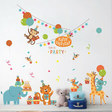 Happy Jungle animal Wall decal Removable stickers kids Baby nursery decor art US