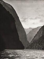1934 Vintage NEW ZEALAND Fjords Cliff Inlet Landscape Art 11x14 By E. O. HOPPE