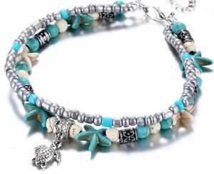 Women Blue Turquoise Beads Sea Turtle Anklet Beach Sandal Ankle Bracelet 9-11""
