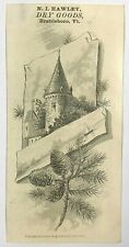 1880 N I Hawley Dry Goods Brattleboro VT Vermont Engraved Victorian Trade Card