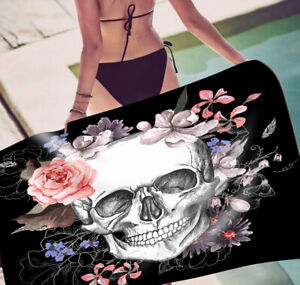 Gift Gothic Cool Sugar Skull Rose Swim Bath Spa Beach Towel Blanket Sofa Throw
