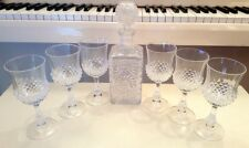 JG DURAND CRISTAL D ARQUES SQUARE DECANTER WITH 6 MATCHING GOBLETS HOBNAIL