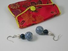 Chinese Hand Painted Ceramic, Pearl & Lapis Dropper Earrings