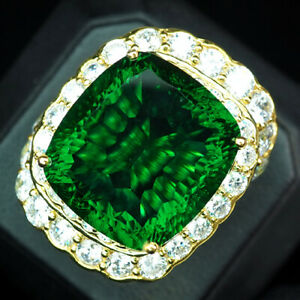 Peridot Green Concave Antique 27.90 Ct. 925 Sterling Silver Gold Ring Size 6.75