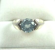 2.40ct Blue Topaz 925 Sterling Silver Solitaire/Victorian Ring US (6) AU (M)