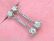 VINTAGE .67ctw DIAMOND 2 STONE DROP SMALL DANGLE PLATINUM EARRINGS 1930