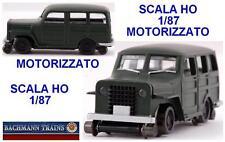 BACHMANN JEEP 4x4 GREEN MOTORIZZATA per TRASPORTO OPERAI e MANUTENZIONE SCALA-HO