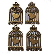 4x antique bronze cage d'oiseau avec cœur détail charme 32x20mm