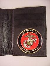 USMC US MARINE CORPS BLACK LEATHER BIFOLD CREDIT CARD WALLET ID NEW