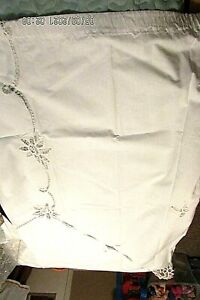 One White Panel Curtain with Lace & Floral Cutouts-Cotton or Linen