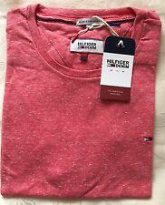 Da Uomo TOMMY HILFIGER COTONE T-shirt bordeaux manica corta taglia-Piccolo Rrp £ 48