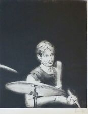 """RONNIE WOOD """" Charlie Watts """" HAND SIGNED ROLLING STONES Drypoint etching 1988"""