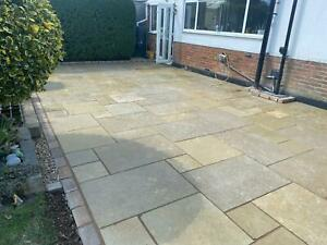 Yellow Indian Limestone Honed and Brushed Patio Paving Slabs Smooth Textured