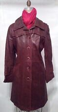 Vintage 70s Brown Leather Casual Women's Coat Jacket Size M