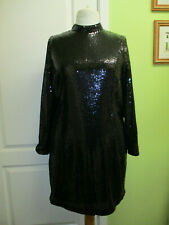 BNWT M&S SIZE 20 WOMENS HIGH NECK BLACK SEQUINNED DRESS LONG SLEEVES WAS £55