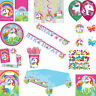 Girls Unicorn Rainbow Birthday Tableware & Decorations + Party Bags & Favours