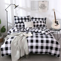 Checked Duvet Doona Quilt Cover Set Single Double Queen Size Bedding Set New
