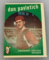 1959 Topps # 494 Don Pavletich Baseball Card Cincinnati Redlegs Reds Red Legs