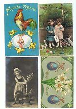 4 Postkarten Jugendstil fröhliche Frohe Ostern Kinder Küken Hahn 1909 gelaufen