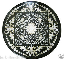 "30""x30"" Marble Dining Coffee Table Top Rare Inlaid Stone Pietradure Mosaic H1941"