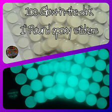 "100 - 1"" GLOW~IN~THE~DARK Circle Epoxy Resin Stickers"