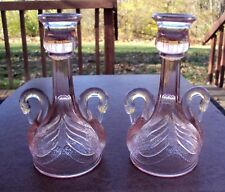 Pair of Vintage Fenton Glass Pink Swan Candlesticks - Gorgeous