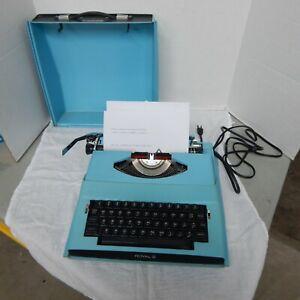 Vintage Blue ROYAL SATURN Electric Typewriter Model SP-8000, Made in Japan