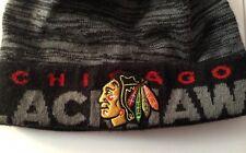 Official NHL Adidas Chicago Black Hawks winter knit beanie hat