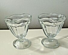 anchor hocking glass heavy clear sundae dish lot of two 4.5 ounces