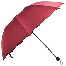 Wine Scallop Edge Windproof Anti-UV Compact Folding Sun Rain Umbrella Parasol US