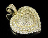 "Unisex 14K Yellow Gold Over 4.00 CT Round Diamond Puff Heart Pendant Charm 1.5"""