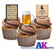 Keep Calm And Love Your Hubby Husband 12 Cup Cake Toppers Edible Decorations