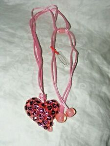 GORGEOUS DESIGNER ZAHARA NECKLACE PINK LUCITE CRYSTAL HEART ON SILK CORD
