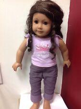 "AMERICAN GIRL Doll  Dark Skin curly Brown Hair 18"""