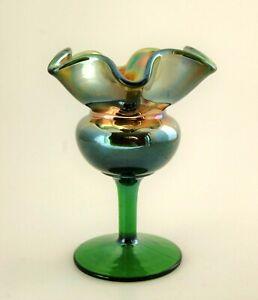 Dugan Glass 1920's Green Carnival Tulip Ruffle Small Compote