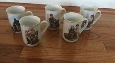 Vintage Lot Of 5 Norman Rockwell Museum Coffee Cups Mug 1982 1985