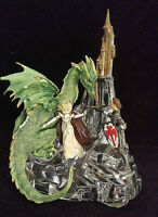 Rare Sculpture Franklin Mint De 1990 Cristal Et Résine dragon princesse mythe