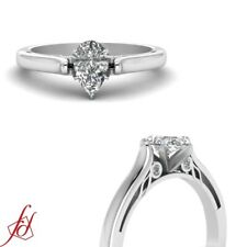 Platinum Diamond Engagement Ring With Pear Shaped Conflict Free Diamond 0.80 Ct