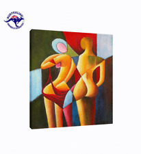 Cubist Oil Painting 'PAINT MY LOVE' Hand Painted Cubism on Canvas