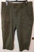 Lee 1889 Women's Relaxed Fit Olive Green Cargo Pocket Capri Pants Size 16 Medium
