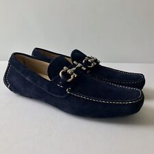 W-744252 New Salvatore Ferragamo Parigi Blue Suede Loafers Shoes Size US 7.5D