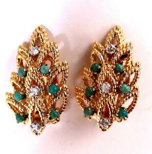 .18ct turquoise diamond leaf pattern clip earrings 🌿