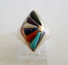 Sterling Silver Turquoise Onyx & Quartz Multi Stone Smooth Shank Ring 925