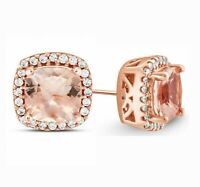 14k Rose Gold Plated Morganite Created Gemstone Stud Earring  5 Options ITALY